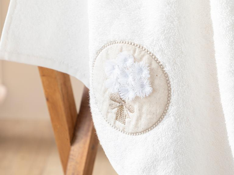 Dandelion Bouquet Aplikeli Yüz Havlusu 50x80 Cm Ekru-bej