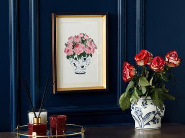 Rose Bouquet Tablo 25x35 Cm Mavi-beyaz