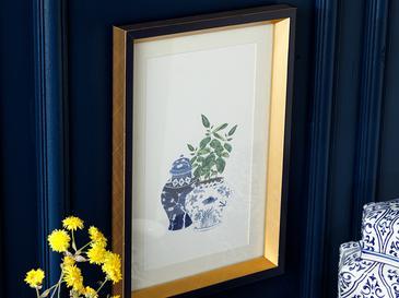 Leafy Tablo 25x35 Cm Mavi-beyaz