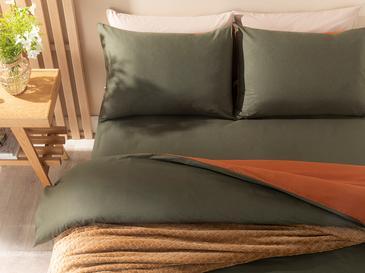 Plain Pamuk Çift Kişilik Nevresim Takımı 200x220 Cm Yeşil-turuncu