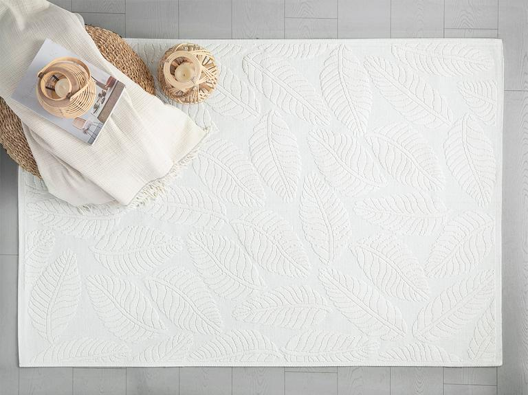 Leafy Pamuklu Kilim 60x100 Cm Beyaz