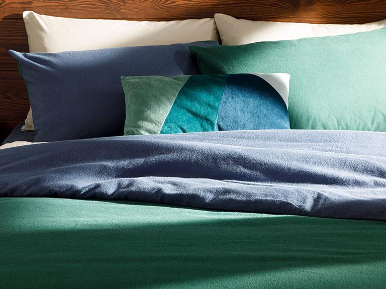Plain Flanel Çift Kişilik Nevresim Takımı 200x220 Cm Yeşil-mavi