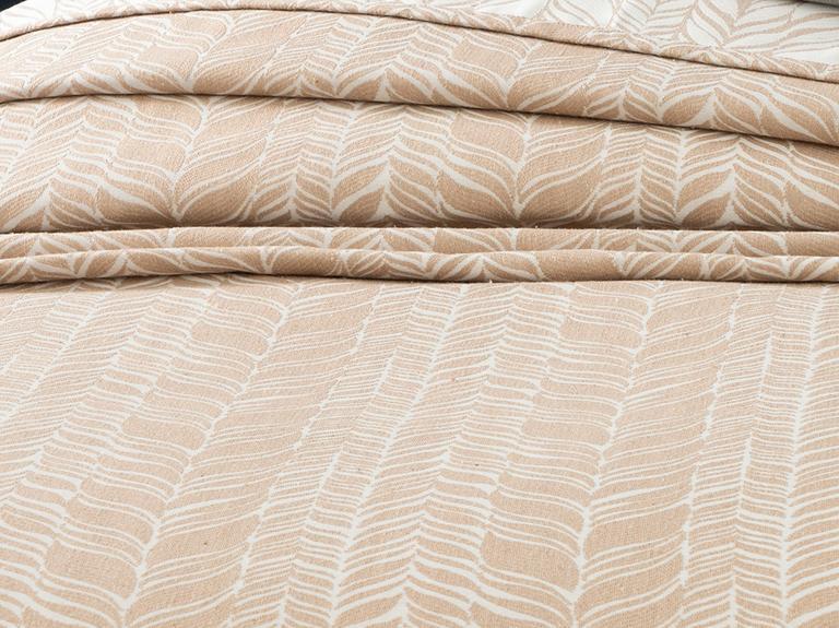 Knit Jakarlı Çift Kişilik Yatak Örtüsü Takımı 240x250 Cm Bej