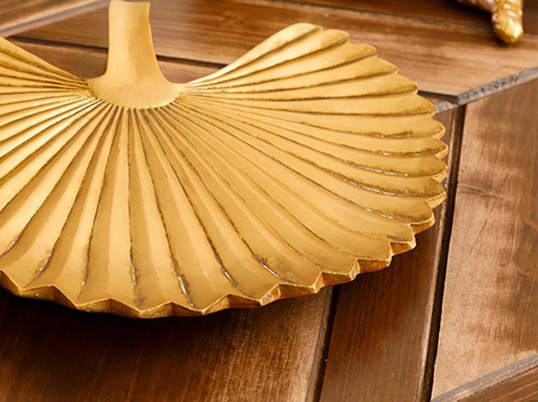 Pure Elegance Polyresin Dekoratif Tabak 22,3X20,8X2,8 Cm Altın