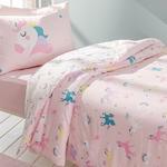 Unicorns Pamuklu Çocuk Nevresim Takımı 160x220 Cm Pembe