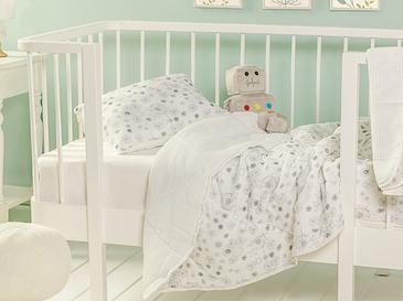 Dandelion Pamuklu Yastıklı Bebek Yorgan Seti 95x145 Cm Gri