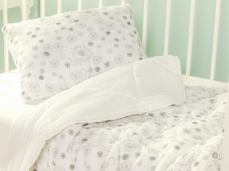 Dandelion Pamuklu Yastıklı Bebek Yorgan Set 95x145 Cm Gri