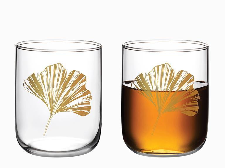 Gingko Biloba Cam 3'lü Meşrubat Bardağı 270 Ml Gold