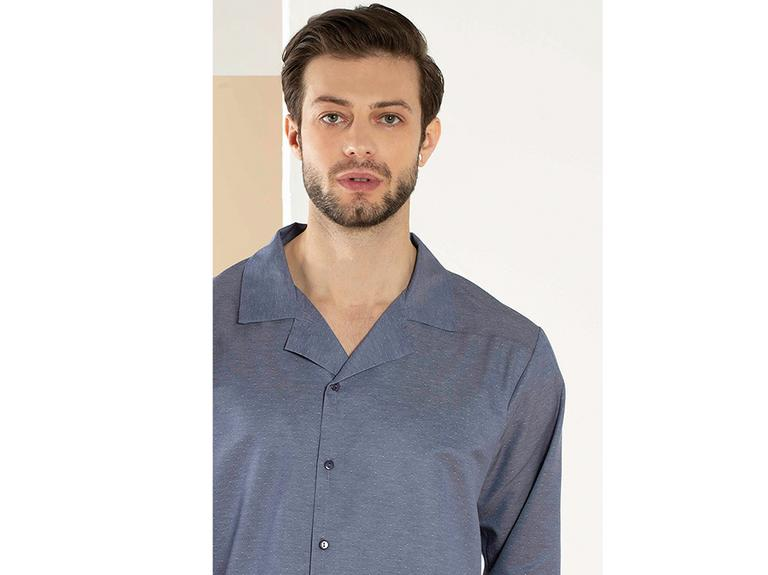Masculine Dokuma Pijama Takımı L Mavi