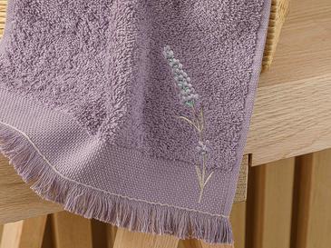 Lavender Nakışlı El Havlusu 30x45 Cm Koyu Mor