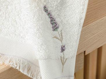 Lavender Nakışlı El Havlusu 30x45 Cm Ekru