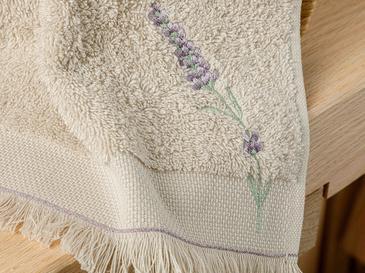 Lavender Nakışlı El Havlusu 30x45 Cm Koyu Bej