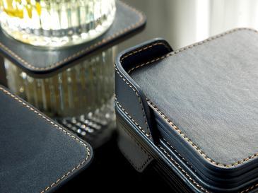 Leather Suni Deri 6'lı Bardak Altlığı 10x10 Cm Lacivert