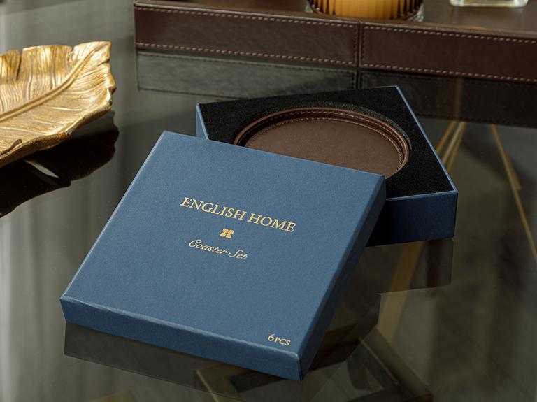 Leather Suni Deri 6'lı Bardak Altlığı 10 Cm Kahverengi