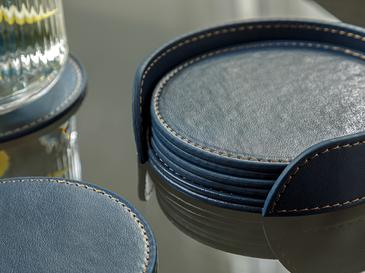 Leather Suni Deri 6'lı Bardak Altlığı 10 Cm Lacivert