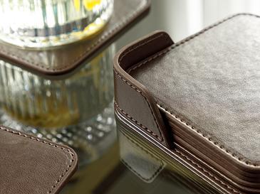 Leather Suni Deri 6'lı Bardak Altlığı 10x10 Cm Kahverengi