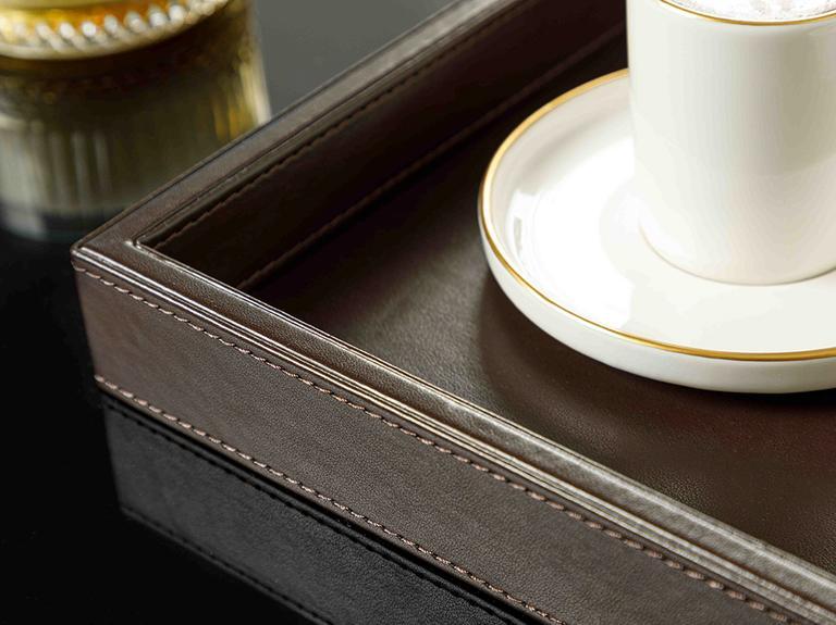 Leather Suni Deri Tepsi 34x22x4 Cm Kahverengi