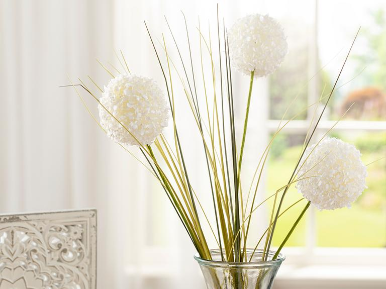 Grass Bush Tek Dal Yapay Çiçek 63 Cm Beyaz