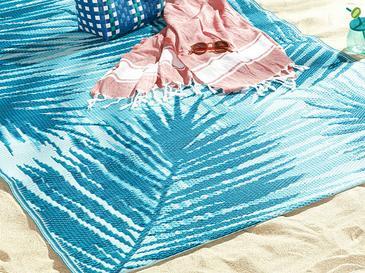 Bohemian Leaf Polipropilen Plaj Hasırı 120x180 Cm Mavi