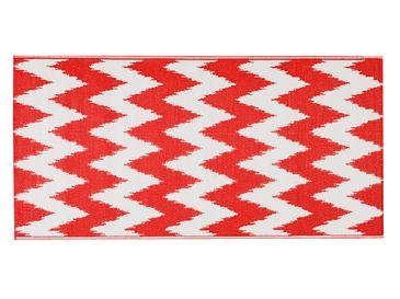 Chevron Polipropilen Plaj Hasırı 90x180 Cm Beyaz - Kırmızı