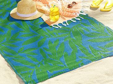 Leaf Me Alone Polipropilen Plaj Hasırı 90x180 Cm Mavi - Yeşil