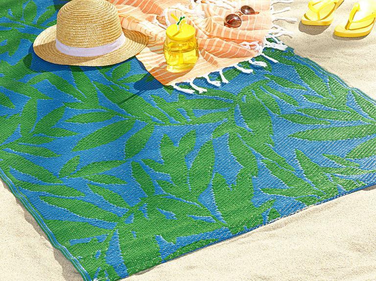 Leaf Me Alone Polipropilen Plaj Hasırı 120x180 Cm Mavi - Yeşil