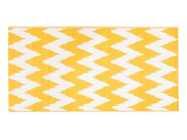 Chevron Polipropilen Plaj Hasırı 90x180 Cm Beyaz - Turuncu