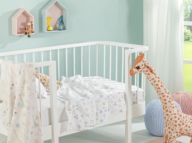 Mini Giraffe Baskılı Bebe Pike 100x150 Cm Bej