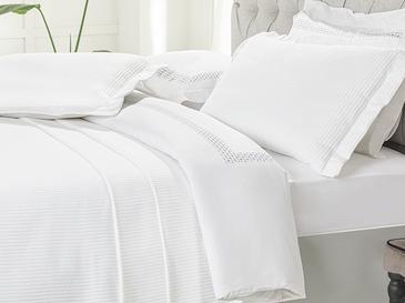 Chain Dokuma King Size Yatak Örtüsü Takımı 260x280 Cm Beyaz