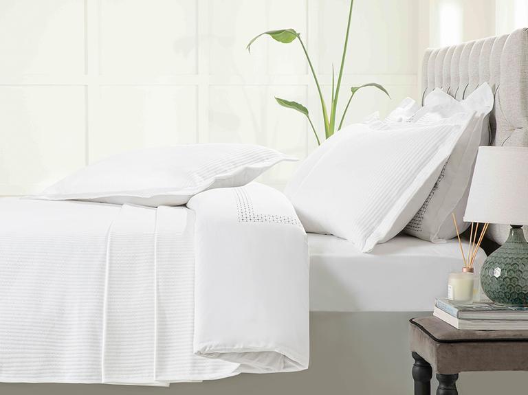 Chain Dokuma Tek Kişilik Yatak Örtüsü Takımı 160x240 Cm Beyaz