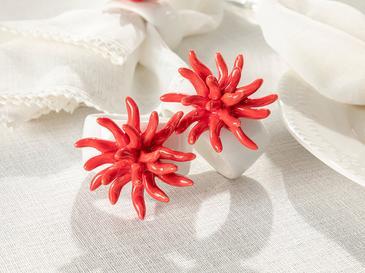 Arzu Sabancı Coral Stoneware 4'lü Peçete Halkası 5,5 Cm Nar Çiçeği