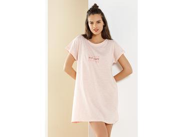 Boyfirend Pink Penye Gecelik S Pembe