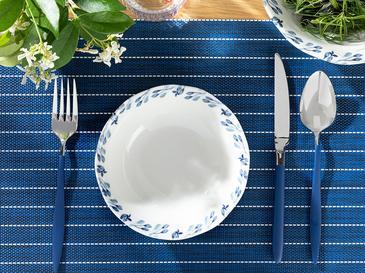 Clover Flower Porselen Çorba Kasesi 16 Cm Beyaz - Mavi