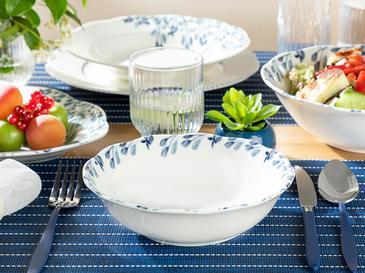 Clover Flower Porselen Salata Kasesi 20 Cm Beyaz - Mavi