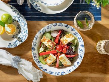 Clover Flower Porselen Salata Kasesi 25 Cm Beyaz - Mavi