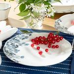 Clover Flower Porselen Pasta Tabağı 20 Cm Beyaz - Mavi