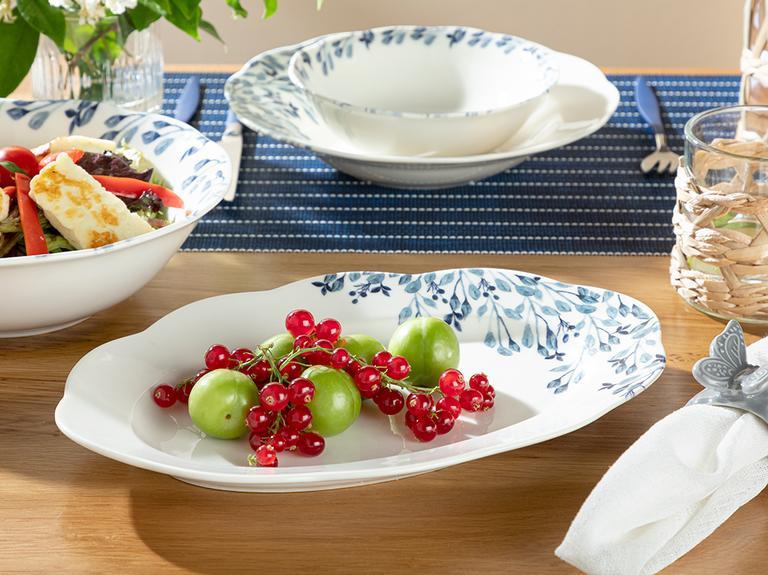 Clover Flower Porselen Kayık Tabak 30 Cm Beyaz - Mavi