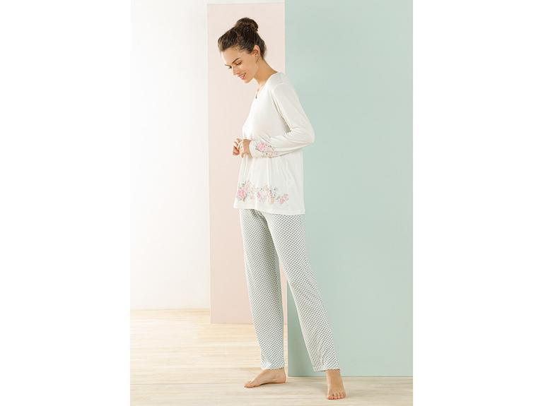 Natural Flower Viskon Pijama Takımı S-m Mint - Beyaz