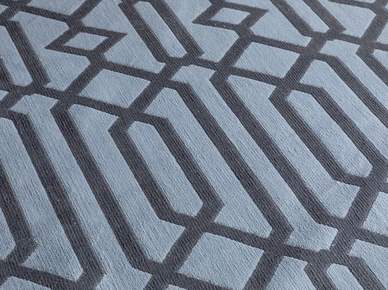 Velvet Geometric Kadife Halı 80x250 Gri