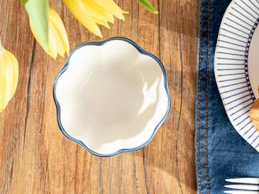 Clover White Porselen Çerezlik 10 Cm Beyaz - Mavi