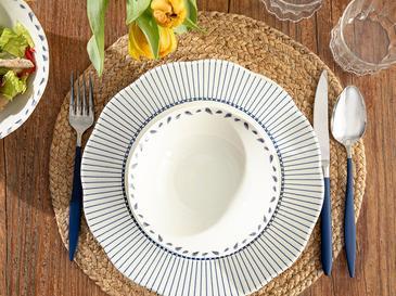 Clover Leaf Porselen Çorba Kasesi 16 Cm Beyaz - Mavi