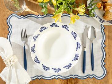 Clover Wind Porselen Çukur Tabak 23 Cm Beyaz - Mavi