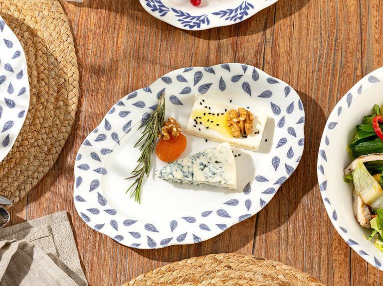 Clover Leaf Porselen Kayık Tabak 25 Cm Beyaz - Mavi
