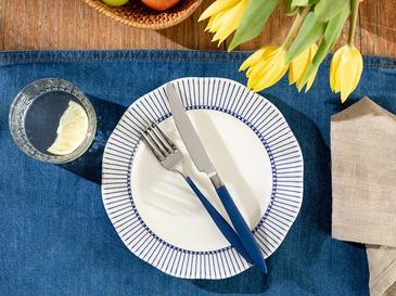Clover Ring Porselen Pasta Tabağı 20 Cm Beyaz - Mavi