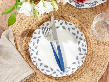 Clover Leaf Porselen Pasta Tabağı 20 Cm Beyaz - Mavi