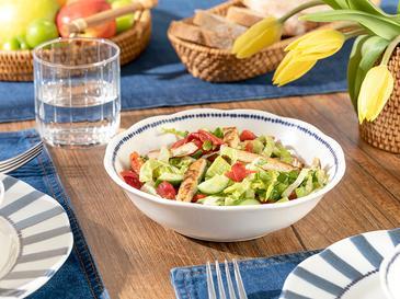 Clover Stripe Porselen Salata Kasesi 20 Cm Beyaz - Mavi