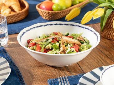 Clover Stripe Porselen Salata Kasesi 25 Cm Beyaz - Mavi