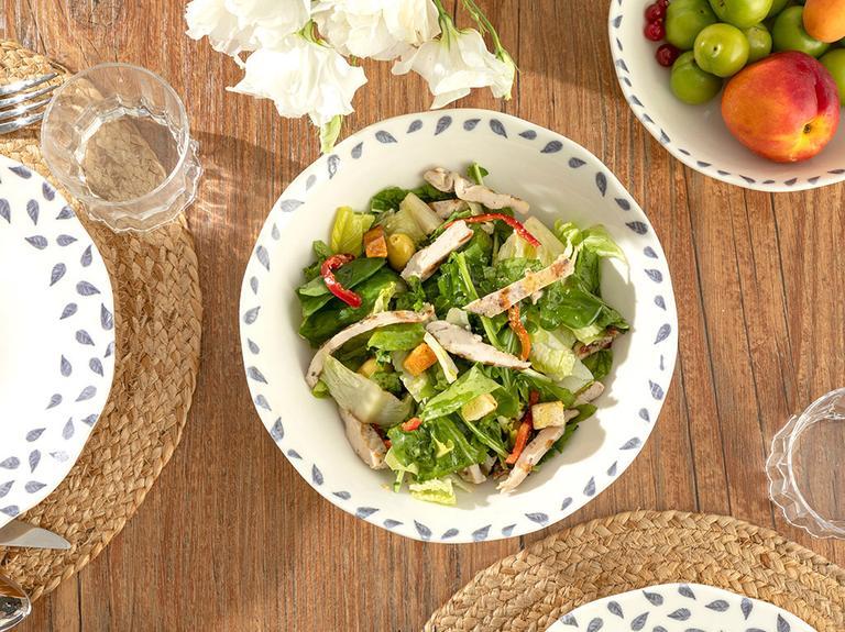 Clover Leaf Porselen Salata Kasesi 25 Cm Beyaz - Mavi