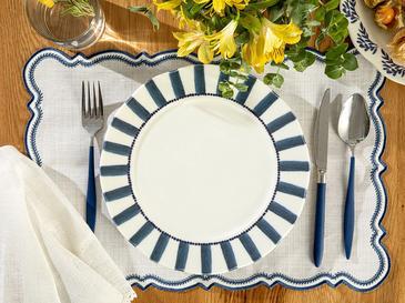 Clover Stripe Porselen Servis Tabağı 27 Cm Beyaz - Mavi
