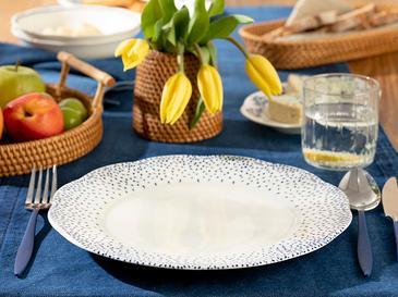 Clover Dots Porselen Servis Tabağı 27 Cm Beyaz - Mavi